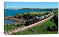 Steam train passing Saltern Cove near Goodrington, Canvas Print