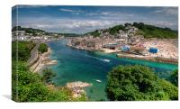 Boats on the River Looe and Town Beach, Canvas Print