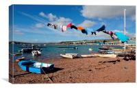 Windy day on Teignmouth Back Beach, Canvas Print