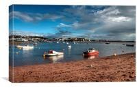 Shaldon Beach looking towards Teignmouth , Canvas Print