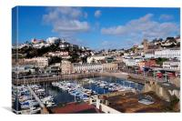 Looking down on Torquay Harbour , Canvas Print