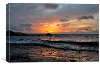 Sunrise on Looe Town Beach, Canvas Print