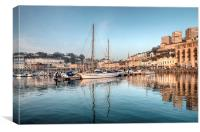 Early evening reflections at Torquay Harbour, Canvas Print