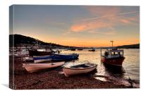 Sunset on Teignmouth Back Beach, Canvas Print