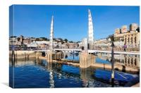 Blue Sky at Torquay Harbour and Bridge, Canvas Print