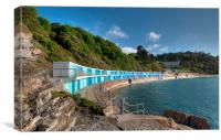 New Beach Chalets at Meadfoot Beach Torquay, Canvas Print