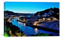 Night View along the River Looe, Canvas Print