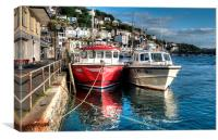 Boats moored on the River Looe, Canvas Print
