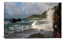 Rough Sea at Meadfoot Beach Torquay, Canvas Print