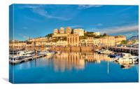 Golden reflections at Torquay Harbour, Canvas Print