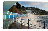 Rough seas and chalets at Meadfoot Beach Torquay, Canvas Print