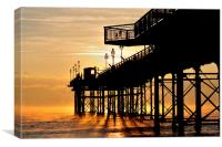 Mist at Sunrise by Teignmouth Pier, Canvas Print