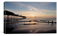 Sunrise by Teignmouth Pier, Canvas Print