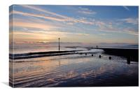 Sunrise at Low Tide on Teignmouth Beach, Canvas Print