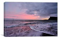 PInk Sunset on Teignmouth Beach , Canvas Print