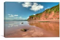 Sandstone Cliffs at Ness Beach Shaldon, Canvas Print