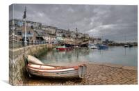 Quiet day at Brixham Harbour , Canvas Print