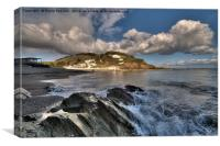 Clouds gather at Millendreath Beach Looe, Canvas Print