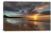 Sunrise on Looe Town Beach , Canvas Print
