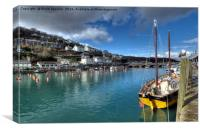 Cornish Lugger on the River Looe , Canvas Print
