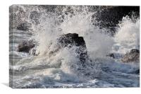 Rough Sea breaking over rocks, Canvas Print