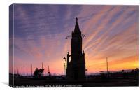 Sunset at Torquay Clocktower , Canvas Print