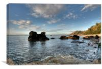 Rocky View at the end of Meadfoot Beach Torquay, Canvas Print