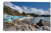 Meadfoot Beach Chalets and Osborne Hotel, Canvas Print