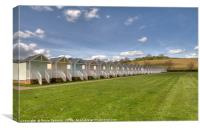 Beach Huts on the green at Broadsands Beach, Canvas Print