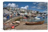 Brixham Harbour and the Golden Hind , Canvas Print
