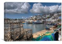 Lobster pots on the quay at Brixham, Canvas Print