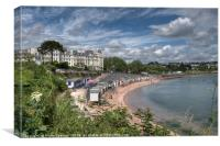 Corbyn Head Beach Huts and the Grand Hotel Torquay, Canvas Print
