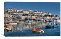 Early morning reflections at Brixham Harbour, Canvas Print