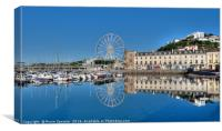 Perfect Blue sky reflections at Torquay Harbour , Canvas Print