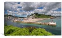 Summer's Day looking down on Looe Beach and River, Canvas Print