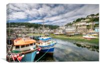 Fishing boats moored on The River Looe at low tide, Canvas Print