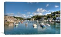 Looking up the Looe River from Looe Bridge , Canvas Print