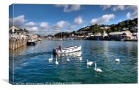 Swans follow the ferryman on the River Looe, Canvas Print