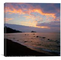 Sunrise at Meadfoot Beach, Canvas Print