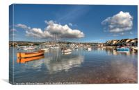 Cloud Reflections on Teignmouth Back Beach, Canvas Print