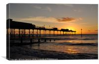 Sunrise by Teignmouth Pier in Devon, Canvas Print
