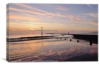 Lone figure at sunrise on Teignmouth Beach, Canvas Print
