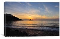 Sunset at Thatcher Rock on Meadfoot Beach Torquay, Canvas Print