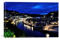 Looe at night, Canvas Print