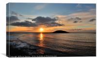 Looe island sunrise , Canvas Print