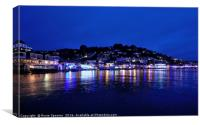 Christmas Light reflections in Looe Cornwall, Canvas Print