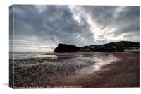 Low Tide looking towards The Ness Headland Shaldon, Canvas Print