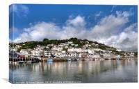 West Looe Viewed from East Looe across the River , Canvas Print