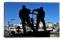 The Man and Boy Statue at Brixham Harbour, Canvas Print