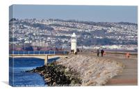 Brixham Lighthouse and Breakwater, Canvas Print
